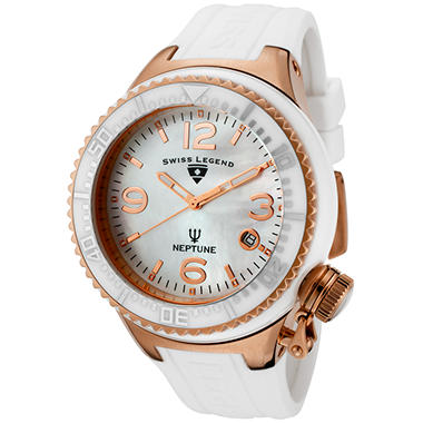Swiss Legend Women?s Neptune Ceramic, Mother of Pearl and White Silicone Watch