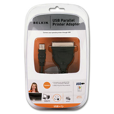 Belkin® USB Parallel Adapter, Centronics 36 Male - 6'