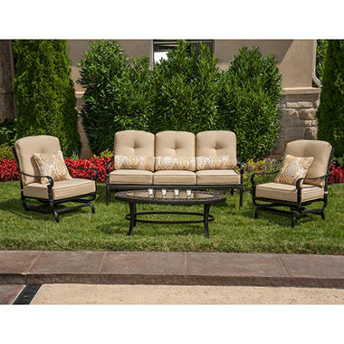 La-Z-Boy Outdoor Amelia 4 pc. Deep Seating Group with Premium Sunbrella� Fabric in Yellow