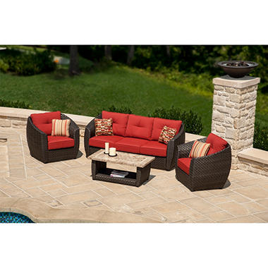 La-Z-Boy Outdoor Madrid 4 pc. Deep Seating Set with Premium Sunbrella® Fabric, Original Price $$1499.00