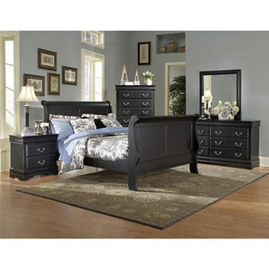Louis Philippe Bedroom Set - 5 pc. - Black - Queen