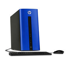 HP Pavilion 550-110 Desktop, Intel Core i3-4170, 8GB Memory, 1TB Hard Drive, Windows 10 - Blue with Keyboard and Mouse