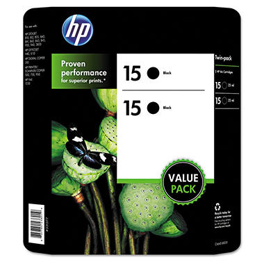 HP 15 Original Ink Cartridge, Black (2 pk., 500 Page Yield)