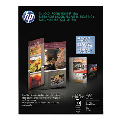 "HP - Tri-Fold Brochure Paper, Inkjet, 48lb, 8-1/2 x 11"", Glossy - 100 Sheets"