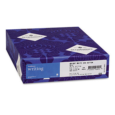 Strathmore - Writing 25% Cotton Fine Paper, 24lb, Ultimate White - Ream