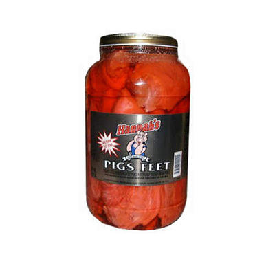Hannah's Red Pickled Pigs Feet - 128 oz.
