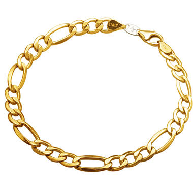 "9"" Men's Figaro Bracelet in Sterling Silver and 14K Yellow Gold"