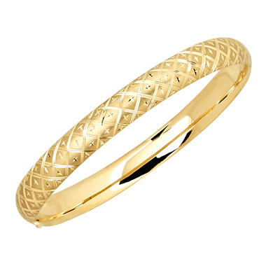 "7.25"" Quilted Bangle in Diamond Cut 14K Yellow Gold"