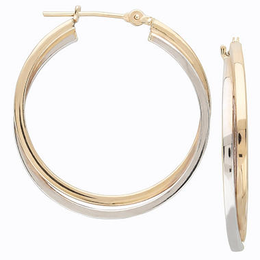 2.5mm x 1.1mm Hoop Earrings in 14K Yellow and White Gold