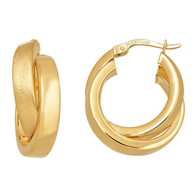5mm Crossover Hoop Earring in Polished 14K Yellow Gold