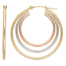 Triple Tube Hoop Earring in 14K Yellow, White, and Rose Gold