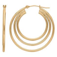 Triple Tube Hoop Earring in 14K Yellow Gold