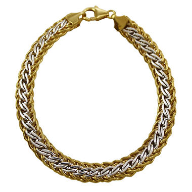 "7.5"" Two-Tone Interwoven Bracelet in Sterling Silver and 14K Yellow Gold"