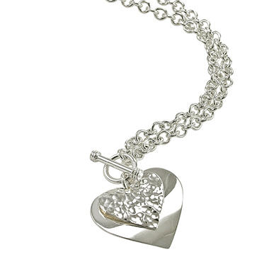 "Love, Earth® Sterling Silver Heart Pendant with 18"" Silver Chain"
