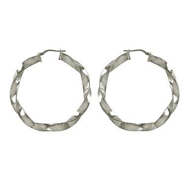 Love, Earth 6x50 Twist Tube Hoop Earrings in Sterling Silver