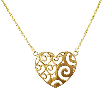 Love, Earth� Heart Pendant in 14K Yellow Gold