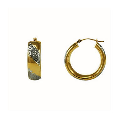 Love, Earth® Sterling Silver & 14K Yellow Gold Hoop Earrings