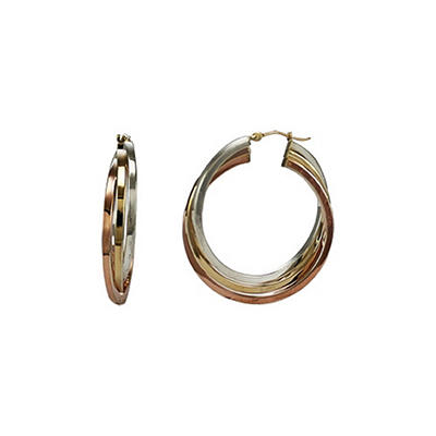 Love, Earth® Sterling Silver & 14k Gold Tri-Color Hoop Earrings