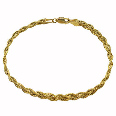 Interwoven Braid Pattern 14K Yellow Gold Bracelet
