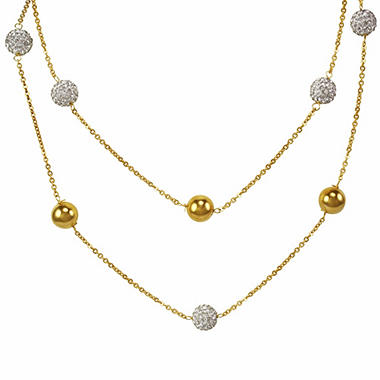 Sterling Silver, 14K Yellow Gold & Swarovski Crystal Bead Necklace