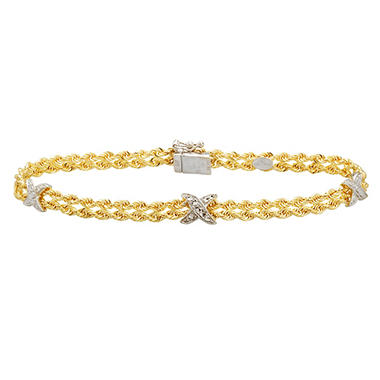 "7.5"" ""X"" Stationed Bracelet in Sterling Silver and 14K Yellow Gold"
