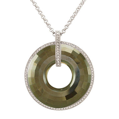 "Love, Earth 24"" Swarovski Circle Pendant on Sterling Silver Chain"