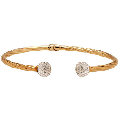 "7.25"" Genuine Swarovski Crystal Ball Ended Hinged Bangle in Sterling Silver and 14K Yellow Gold"