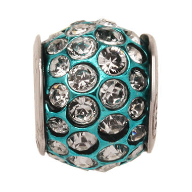 Clear Swarovski Crystal Charm Bead with a Teal Accent in Sterling Silver