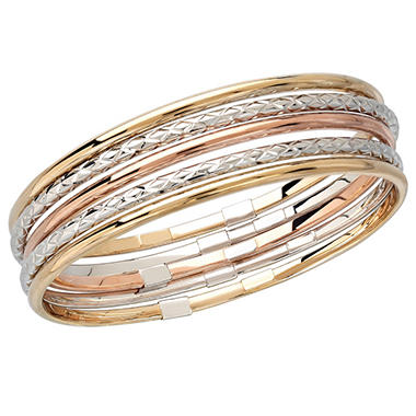 Sterling Silver and 14K Gold Diamond Cut and Polished Bangle Bracelet Set