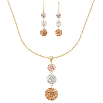 Love, Earth Swarovski Crystal Tri-Color Pendant and Earring Set