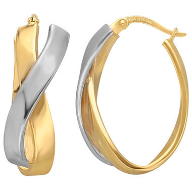 Crossover Hoop Earrings in Sterling Silver and 14K Yellow Gold