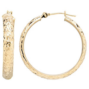 14K Yellow Gold Diamond Cut Hoop Earrings