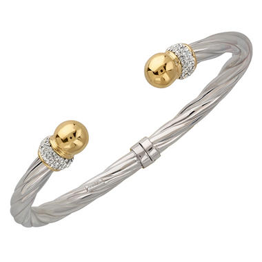 Love, Earth Genuine Swarovski Crystal Bangle Set in Sterling Silver and 14K Yellow Gold