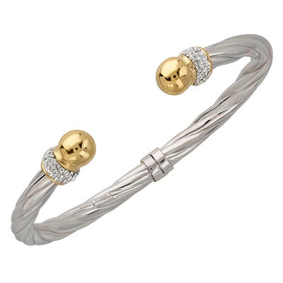 Love, Earth Genuine Swarovski Crystal Bangle Set in Sterling Silver Bonded with14K Yellow Gold