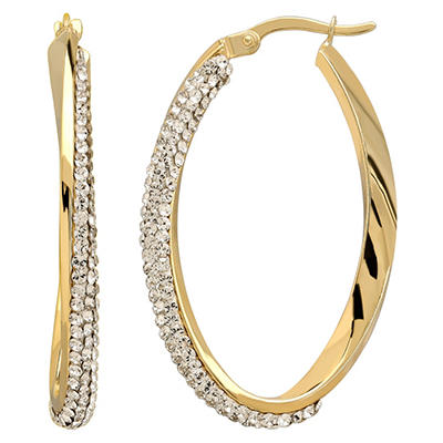 Love, Earth Sterling Silver and 14K Yellow Gold Twist Hoop Earrings With Genuine Swarovski Crystal Accent
