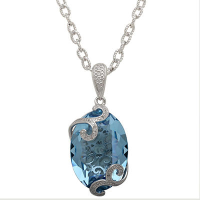 Sterling Silver and Genuine Blue Swarovski Crystal Pendant Necklace