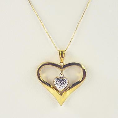 925&14KT PENDANT HEART WITHIN HEART