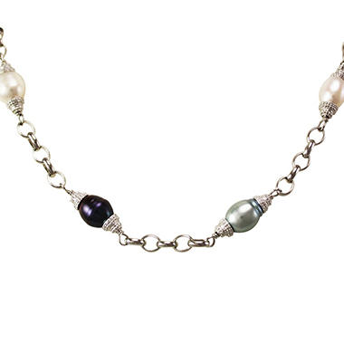 White, Gray & Black Freshwater Cultured Pearl Necklace