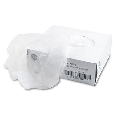 Disposable Hair Net, Spun-Bonded Polypropylene, White, 100 per Bag