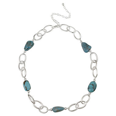 "Sterling Silver Oval Link and Turquoise Nugget Station Necklace, 20"" with 3"" Extender"
