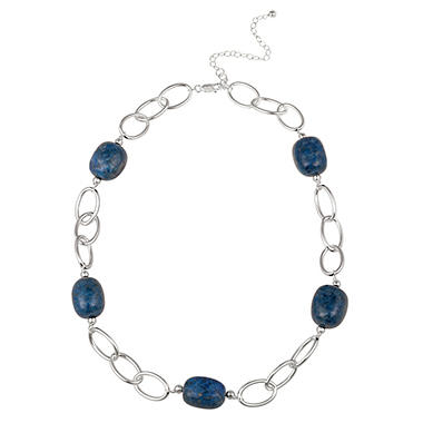 "Sterling Silver Oval Link and Lapis Nugget Station Necklace, 20"" with 3"" Extender"