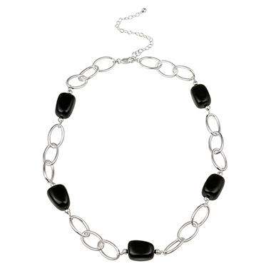 Sterling Silver Oval Link and Onyx Nugget Station Necklace, 20