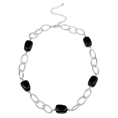 "Sterling Silver Oval Link and Onyx Nugget Station Necklace, 20"" with 3"" Extender"
