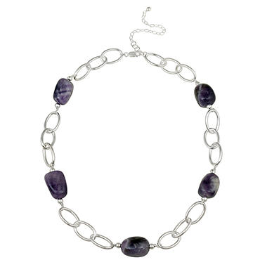 "Sterling Silver Oval Link and Amethyst Nugget Station Necklace, 20"" with 3"" Extender"