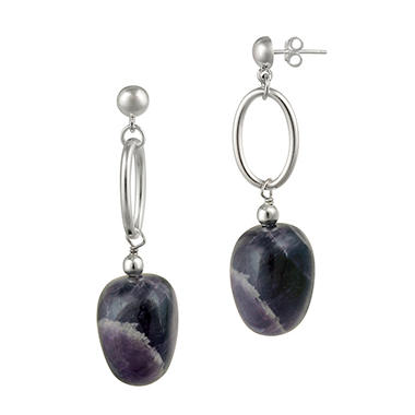 Sterling Silver Oval Link and Amethyst Nugget Drop Post Earrings