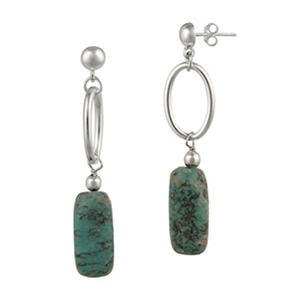 Sterling Silver Oval Link and Turquoise Nugget Drop Post Earrings