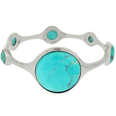 Sterling Silver Designer Inspired Turquoise Lollipop Station Bangle