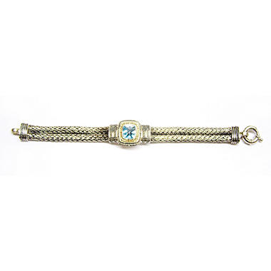 4.5 ct. t.w. Blue Topaz Bracelet in 14K Yellow Gold & Sterling Silver - 7.5""
