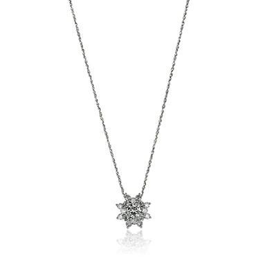 1.0 ct. t.w. Sunflower Diamond Pendant in 14K White Gold (I, I1)