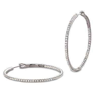1.00 CT.T.W. Inside-Out Diamond Hoop Earrings in 14K White Gold (I, I1)